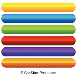 Horizontal, colorful vivid buttons with blank space for...