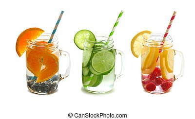 Fruit detox water in mason jars - Three types of fruit...