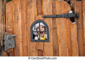 木製である, 若い, 見る, 窓, によって, 門, 女性