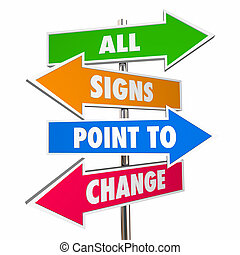All Signs Point to Change Adapt Evolve Disrupt Signs 3D