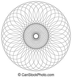 Abstract circular, spiral element isolated Monochrome...