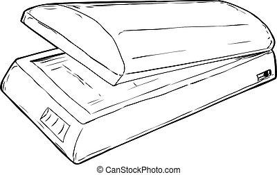 Outlined Open Flatbed Scanner