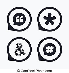 Quote, asterisk footnote icons Hashtag symbol - Quote,...