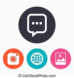 Social media icons. Chat speech bubble and Globe