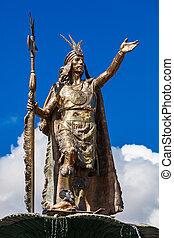 Statue of Inca Pachacutec - Statue of the Inca Pachacutec on...