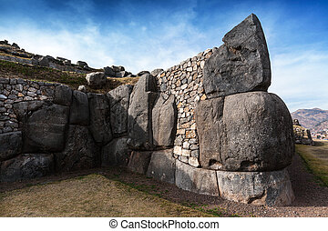 ancient stronghold on sunny day - Inca ancient stronghold on...