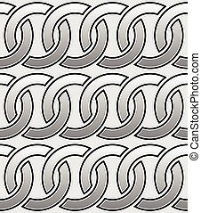 Contour of interlocking circles rings seamless monochrome...