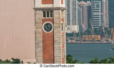 Clock Tower on the waterfront Kowloon timelapse hyperlapse -...