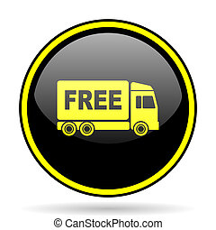 free delivery black and yellow glossy internet icon - free...