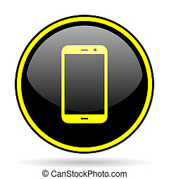 smartphone black and yellow glossy internet icon