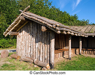 Viking age storage farm house in a village