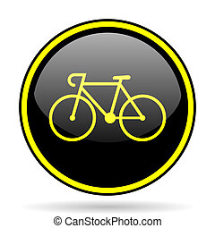 bicycle black and yellow glossy internet icon - bicycle...