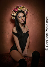 Woman with wreath of roses - Hairstyle and Make up -...