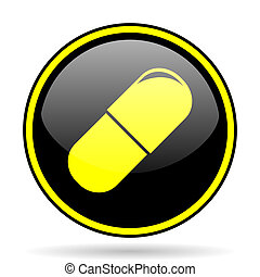 drugs black and yellow glossy internet icon - drugs black...