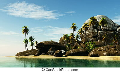 beach seascape view with a big stones and palmtree
