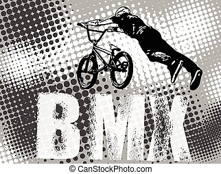 bmx cyclist, abstract background - bmx stunt cyclist on the...