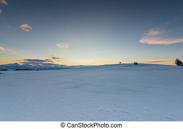 sunset mood at snow meadow with glowing sky in winter