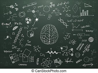 brain science - illustration of brain and science graphic on...