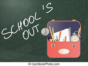 "school out - illustration of school bag with ""school's out""..."
