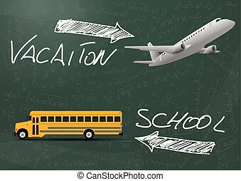 school vacation - illustration of vacation and school text...
