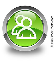Group icon glossy green round button