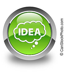 Idea bubble icon glossy green round button