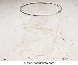 Crystal Drinking Glass with Green Fish Design - A short...