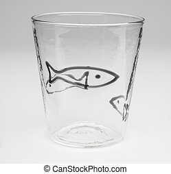 Crystal Drinking Glass with Outlined Black Fish Design - A...