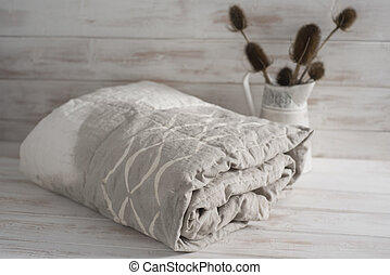 Rolled Two-Tone White and Gray Duvet with Thistle Plants - A...