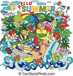 Vector lettering hello summer with decorative elements on...