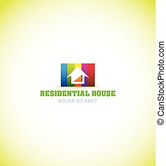 Real estate house colors logo icon