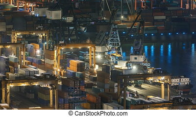 Hong Kong Container Terminal at Night timelapse - Hong Kong...