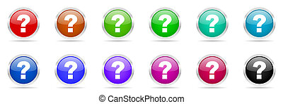 question mark colorful web icons set