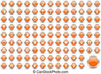 internet orange icons set