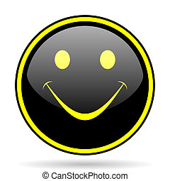 smile black and yellow glossy internet icon - smile black...