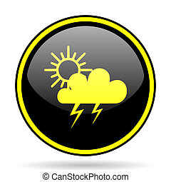 storm black and yellow glossy internet icon - storm black...