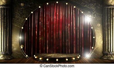 red curtain stage with golden podium and loop lights