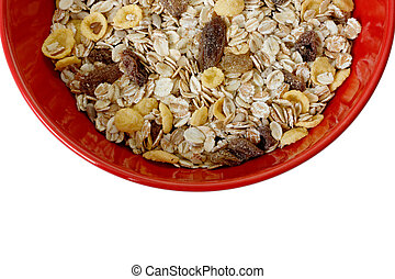 Bowl of cereal with raisins