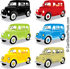 vector isolated funny colored cars