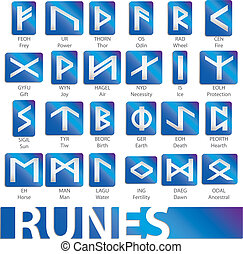 set of runes vector illustrations icons symbols