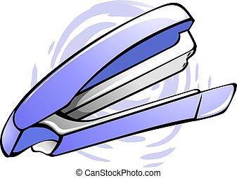Stapler - Illustration of a paper stapler on top of a paper
