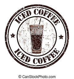 Iced coffee stamp - Iced coffee grunge rubber stamp on white...