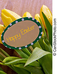 Happy Easter card and tulips. - Yellow tulips and easter...