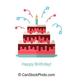 Big cake flat icon isolated white background - Happy...