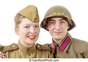 portrait couple in Russian military uniform - a portrait...