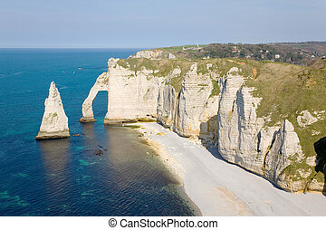 Cliffs at Etretat - The famous cliffs at Etretat in...
