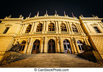 The Czech Philharmonic Building at night, in Prague, Czech...