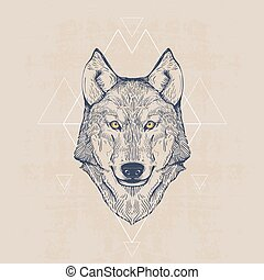 Wolf head, vintage hand drawn illustration