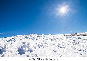 Mountains, med, Snö, In, Vinter,