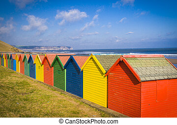 Beach huts in Whitby Yorkshire